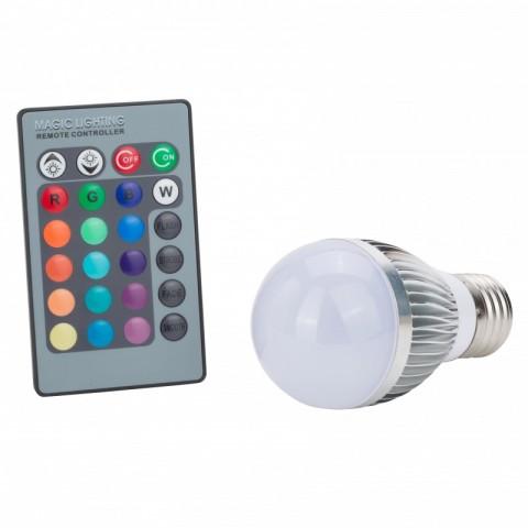 Lámpara de LEDs RGB 3W E27 Esferica con Mando a Distancia