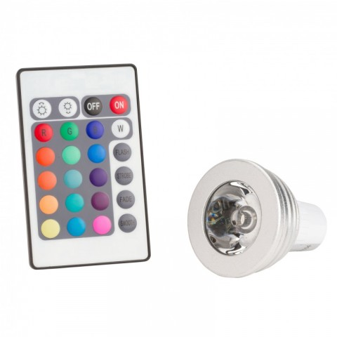 Lámpara de LEDs RGB 3W GU10 con Mando a Distancia