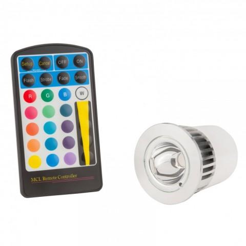 Lámpara de LEDs RGB 5W GU10 con Mando a Distancia