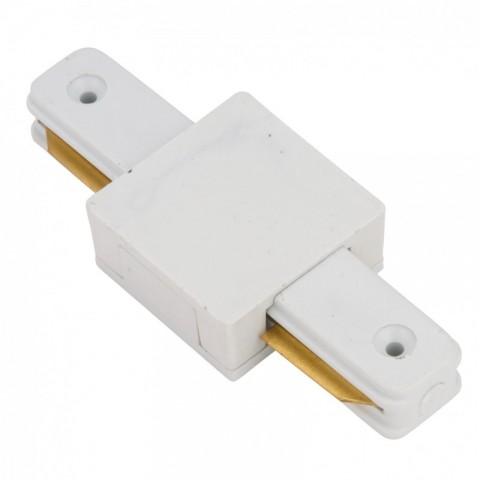Conector Recto para Carril Focos de LEDs Color Blanco