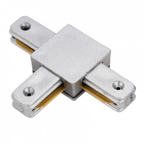 Conector T para Carril Focos de LEDs Color Aluminio