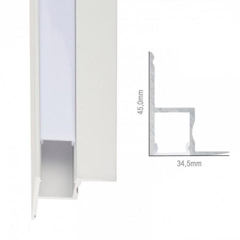 Perfíl de Aluminio para LEDS Instalación Techos Falsos - Difusor Opal -Tira de 1 Metro
