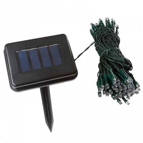 Guirnalda Solar de 100 LEDs 12 Metros IP44 Fijo/Intermitente Azul